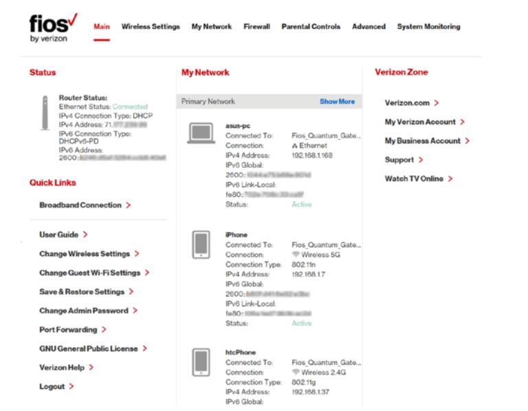 myfiosgateway router setting admin